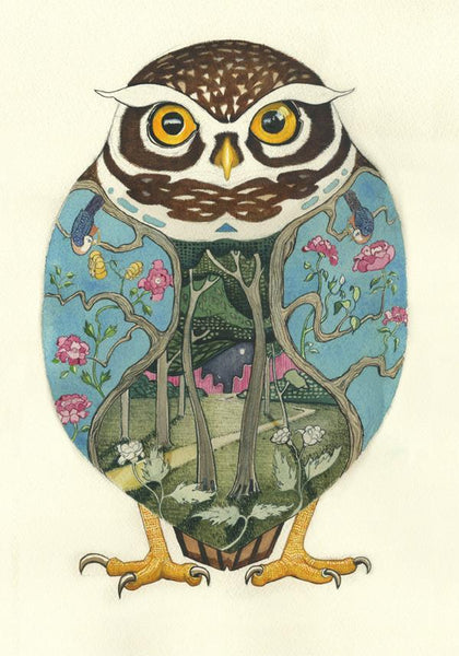 Little Owl Greetings Card decorative