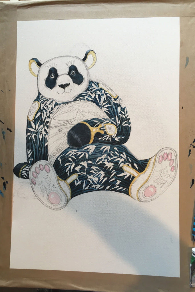 Panda with bamboo painting in progress