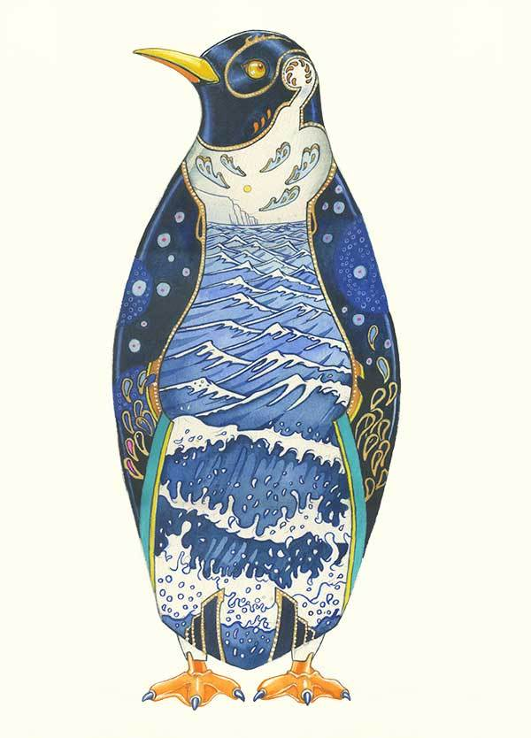 Penguin with seascape interior