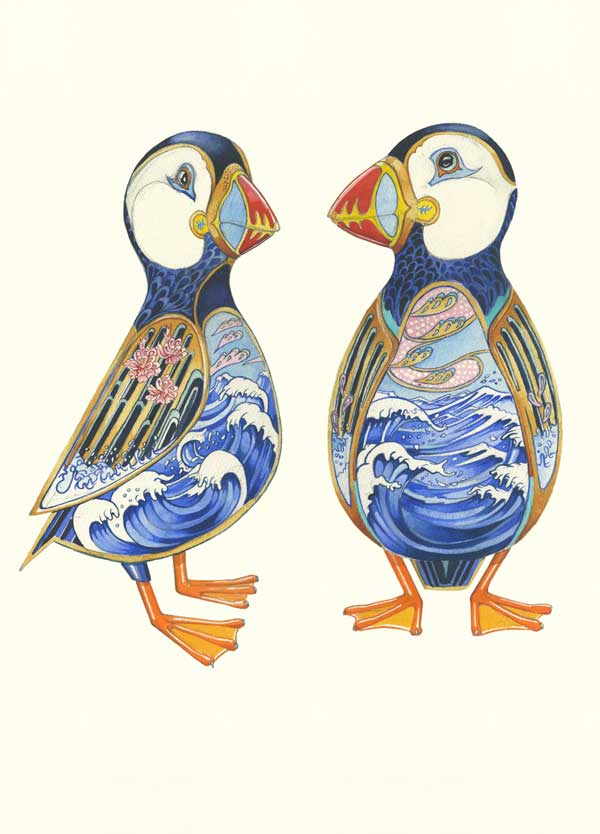 Puffins with seascape interior