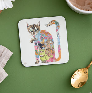 Cat licking it's Paw - Coaster - The DM Collection