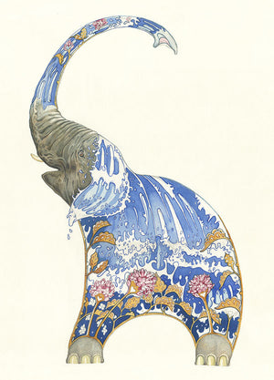 Elephant Squirting Water - Card