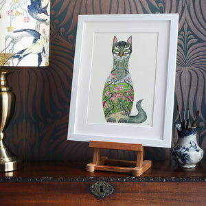 Cat in a Rose Garden - Print