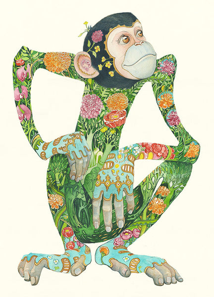 Monkey design with jungle floral