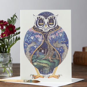 Night Owl Greetings Card By Daniel Mackie, The DM Collection