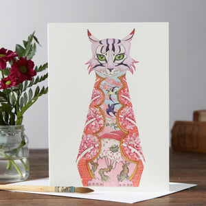 Pink Cat Greetings Card By Daniel Mackie, The DM Collection