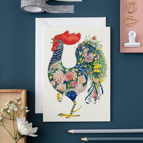 Rooster with Flowers greetings Card