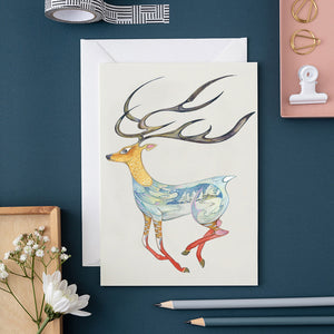 Running Reindeer  -  Card