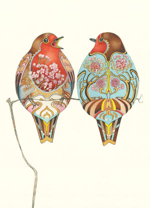 Two Robins - Card
