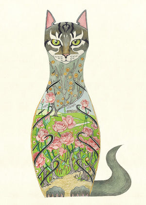 Cat in a Rose Garden - Print - The DM Collection