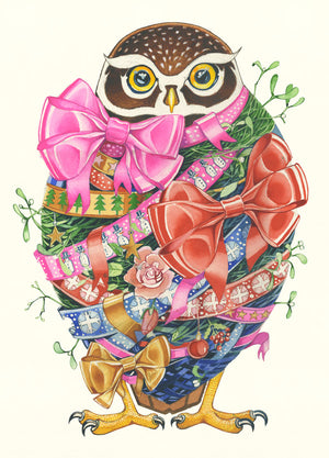 Owl With Ribbons - Christmas Card