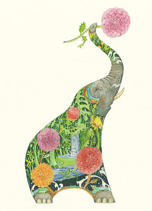 Elephant with Flowers - Card