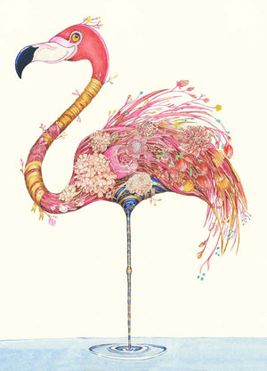 Flamingo with Flowers - Print