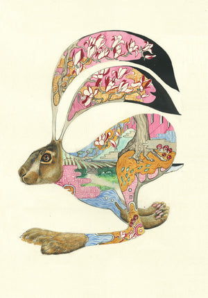 Hare Running -  Card