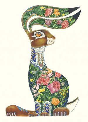 Hare with Flowers - Card