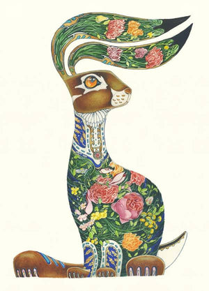 Hare with Flowers - Print - The DM Collection