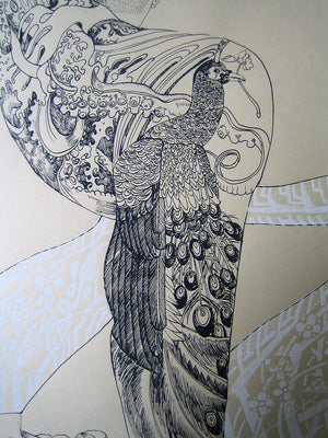 Sailor with Peacock- Limited Edition two colour screen print - part of The Ocean Series