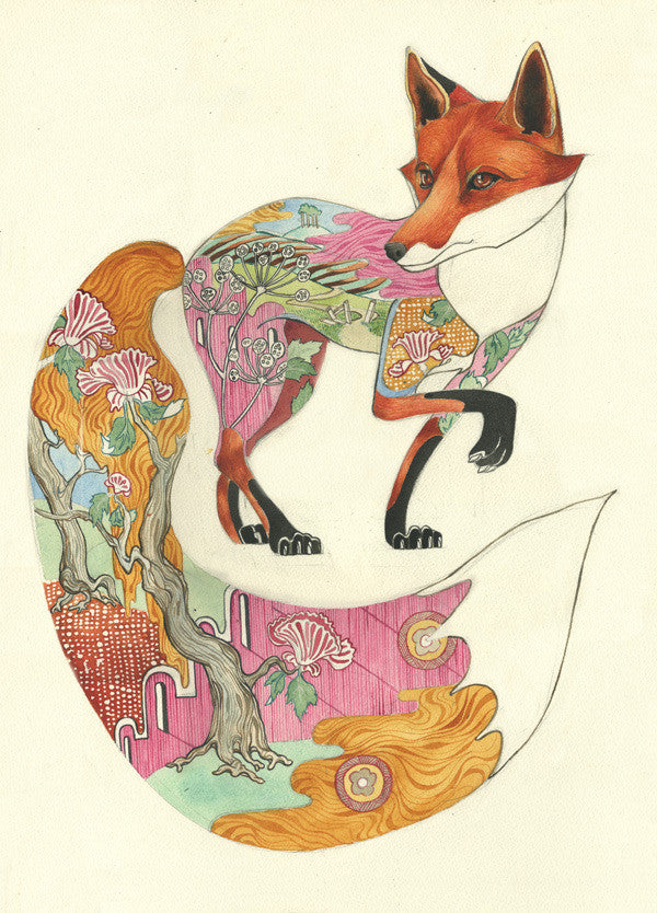 Fox design with countryside landscape- Greetings Card