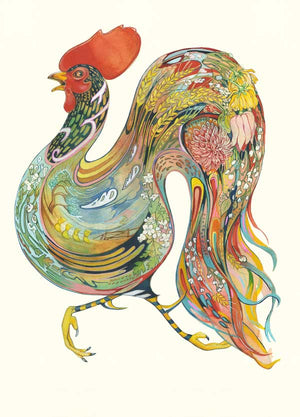 Rooster Running - Card