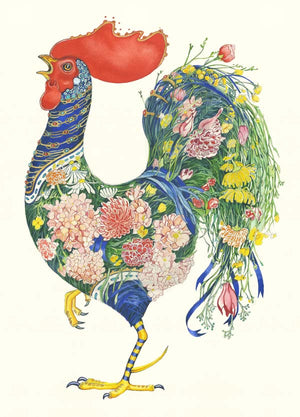Rooster with Flowers - Card