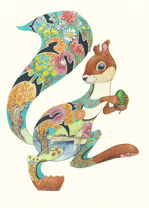 Turquoise Squirrel - Card