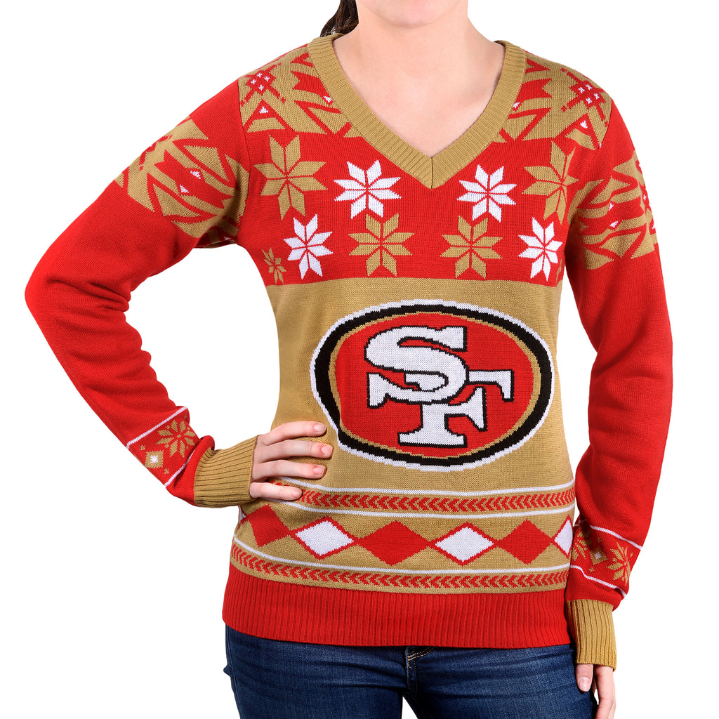 "San Francisco 49ers Women's Official NFL ""Big Logo"" V-Neck Sweater by Klew"