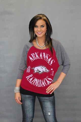 Arkansas Razorbacks Official NCAA Vintage Dolman Raglan Tee
