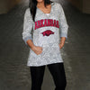 Arkansas Razorbacks Women's Official NCAA DAMASK LASER CUT TUNIC HOODIE
