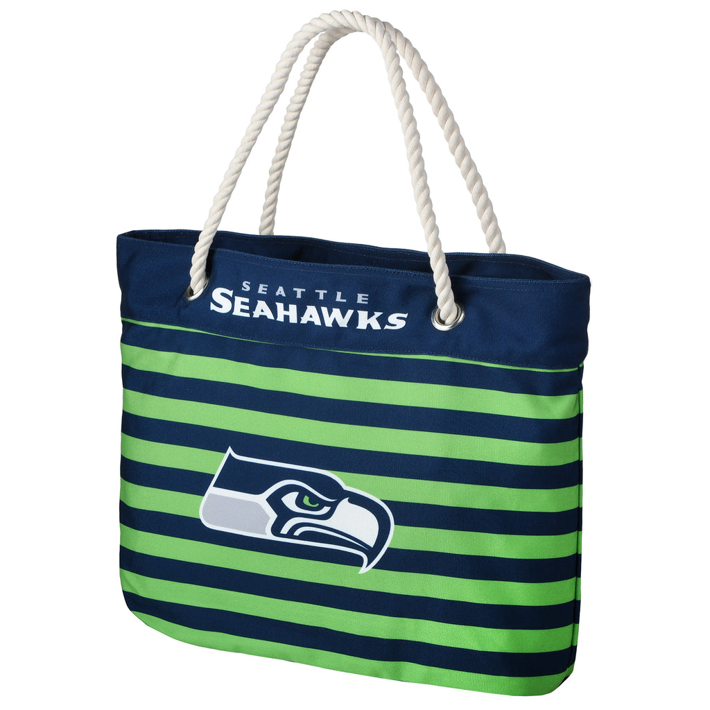 Seattle Seahawks Official NFL Nautical Stripe Tote Bag (PRE-ORDER:  ARRIVES MID TO LATE APRIL:    )