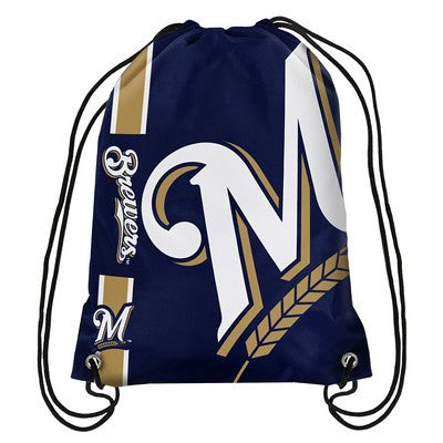 Milwaukee Brewers Official MLB Team Logo Drawstring Backpack