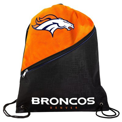 Denver Broncos High End Diagonal Zipper Drawstring Backpack