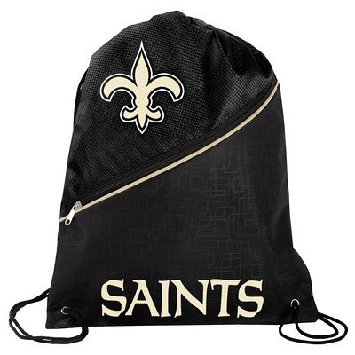 New Orleans Saints High End Diagonal Zipper Drawstring Backpack