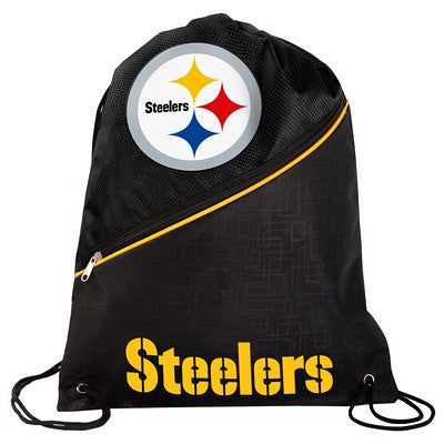 Pittsburgh Steelers High End Diagonal Zipper Drawstring Backpack