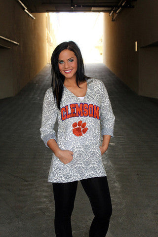 Clemson Tigers Women's Official NCAA DAMASK LASER CUT TUNIC HOODIE