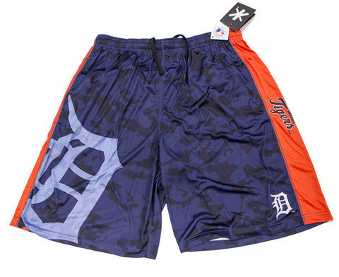 Detroit Tigers Official MLB Big Logo Camo Shorts