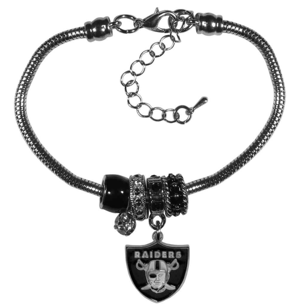 Oakland Raiders Official NFL Euro Bead Necklace/Bracelet