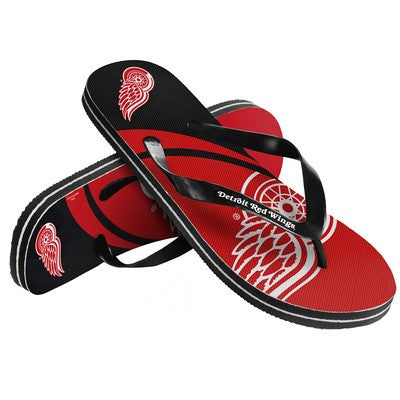 Detroit Red Wings Official NHL Unisex Big Logo Beach Flip Flops