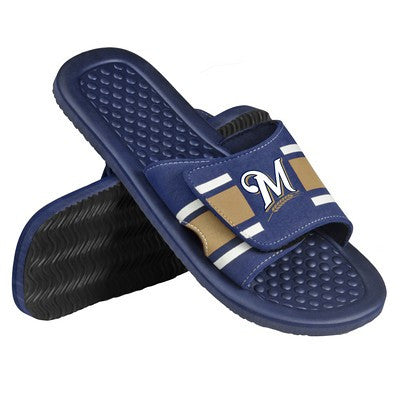 Milwaukee Brewers Official MLB Mens Stripe Shower Beach Summer Sandal Flip Flops