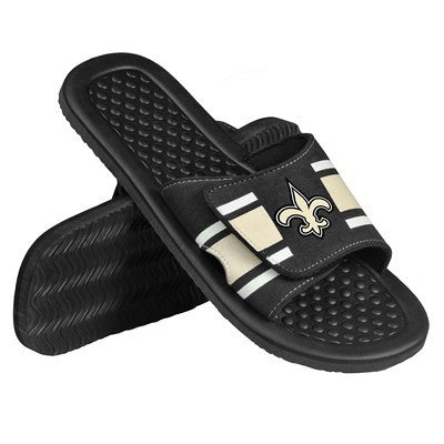 New Orleans Saints Official NFL Mens Stripe Shower Beach Summer Sandal Flip Flops