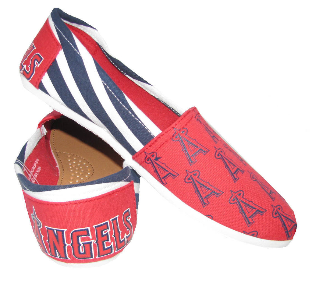 Anaheim Angels Official MLB Womens Stripe Canvas Slip-on Shoes