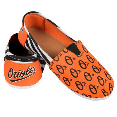 Baltimore Orioles Official MLB Womens Stripe Canvas Slip-on Shoes