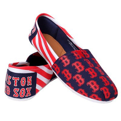 Boston Red Sox Official MLB Womens Stripe Canvas Slip-on Shoes