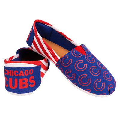 Chicago Cubs Official MLB Womens Stripe Canvas Slip-on Shoes