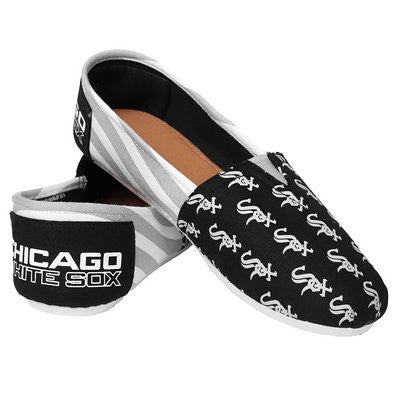 Chicago White Sox Official MLB Womens Stripe Canvas Slip-on Shoes