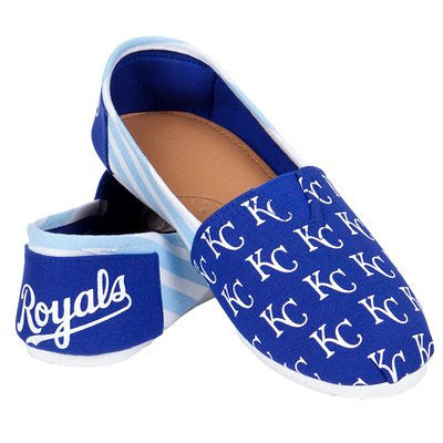 Kansas City Royals Official MLB Womens Stripe Canvas Slip-on Shoes