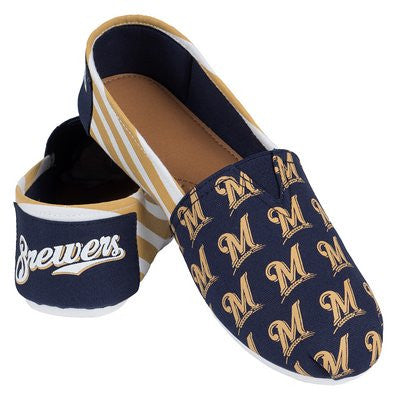 Milwaukee Brewers Official MLB Womens Stripe Canvas Slip-on Shoes