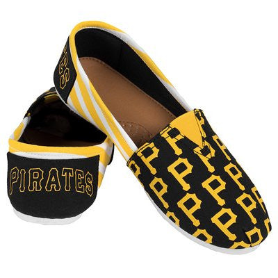 Pittsburgh Pirates Official MLB Womens Stripe Canvas Slip-on Shoes
