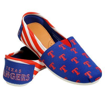 Texas Rangers Official MLB Womens Stripe Canvas Slip-on Shoes