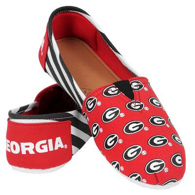 Georgia Bulldogs Official NCAA Womens Stripe Canvas Slip-on Shoes