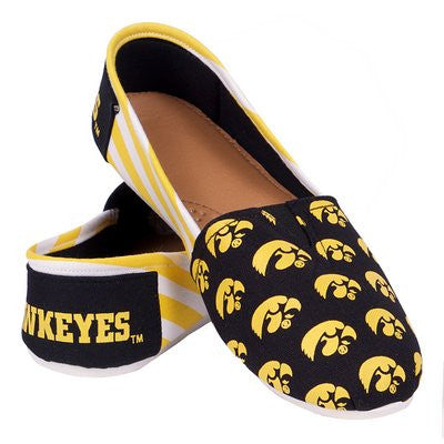 Iowa Hawkeyes Official NCAA Womens Stripe Canvas Slip-on Shoes